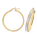 9CT YELLOW AND FROSTED WHITE GOLD HOOP EARRINGS