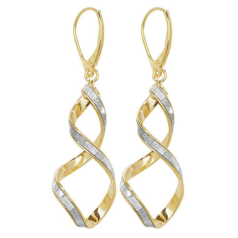 9CT YELLOW & WHITE GOLD SPIRAL DROP EARRINGS