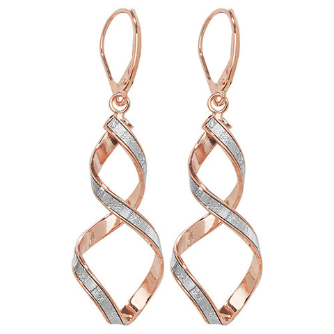 9CT ROSE & WHITE GOLD SPIRAL DROP EARRINGS