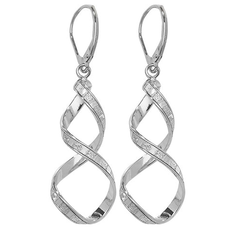 9CT WHITE GOLD SPIRAL DROP EARRINGS