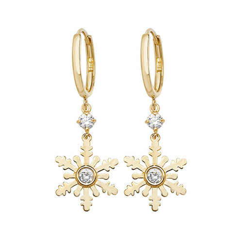 9CT GOLD CUBIC ZIRCONIA SET SNOWFLAKE DROPS