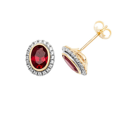 9CT GOLD OVAL CREATED RUBY & WHITE SAPPHIRE STUD EARRINGS