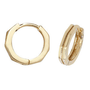 9CT GOLD HINGED HUGGIE HOOP EARRINGS