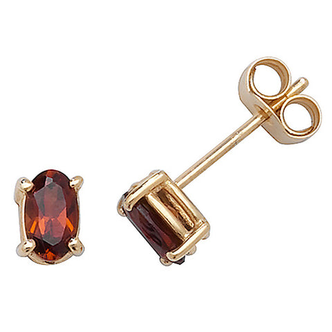 9CT GOLD OVAL CUT GARNET STUD EARRINGS