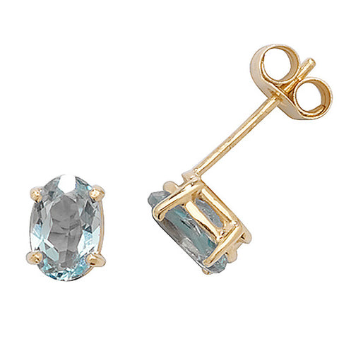 9CT GOLD OVAL BLUE TOPAZ STUD EARRINGS