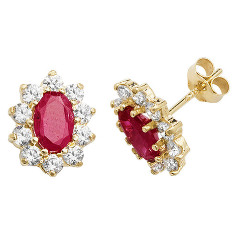 9CT GOLD OVAL CUT RUBY & CUBIC ZIRCONIA STUDS
