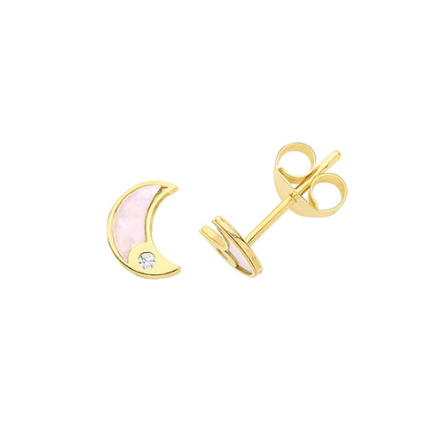 9CT GOLD CUBIC ZIRCONIA & MOTHER OF PEARL MOON STUD EARRINGS