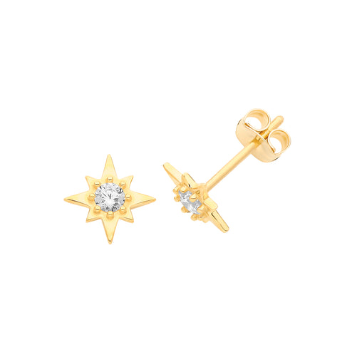 9CT GOLD CUBIC ZIRCONIA SET STAR STUDS