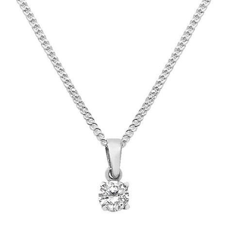 "SILVER ROUND CUT CUBIC ZIRCONIA PENDANT ON 18"" CURB CHAIN"