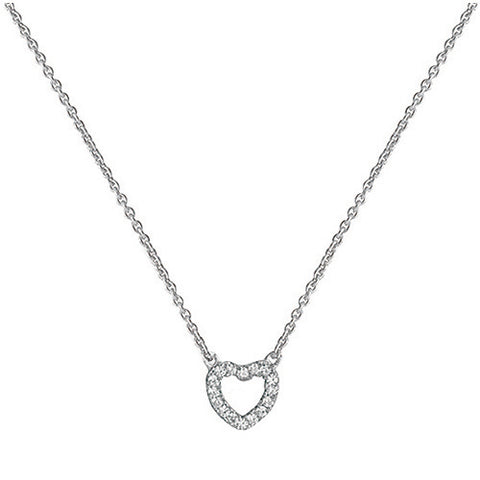 RHODIUM PLATED SILVER CUBIC ZIRCONIA HEART NECKLACE