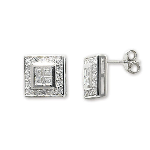 SILVER STATEMENT SQUARE CUBIC ZIRCONIA HALO STUDS
