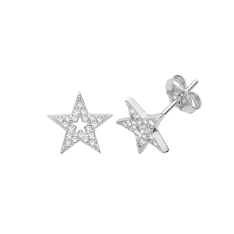 SILVER CUBIC ZIRCONIA STAR STUDS