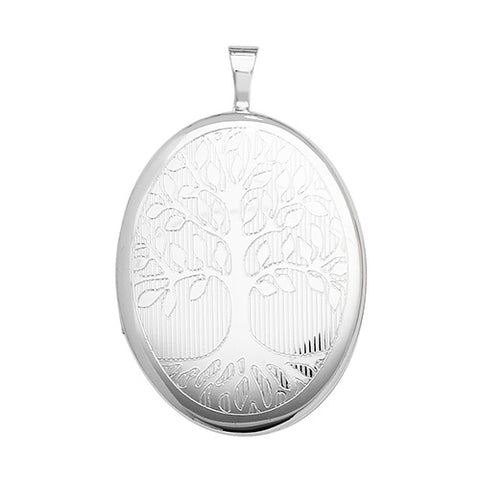 SILVER TREE OF LIFE OVAL LOCKET