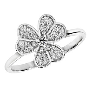 SILVER CUBIC ZIRCONIA SET SHAMROCK RING