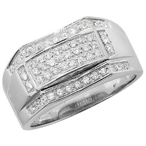 SILVER PAVE SET CUBIC ZIRCONIA CONCAVE/CONVEX RING