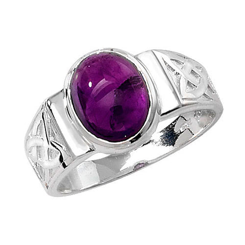 SILVER CELTIC DESIGN AMETHYST RING