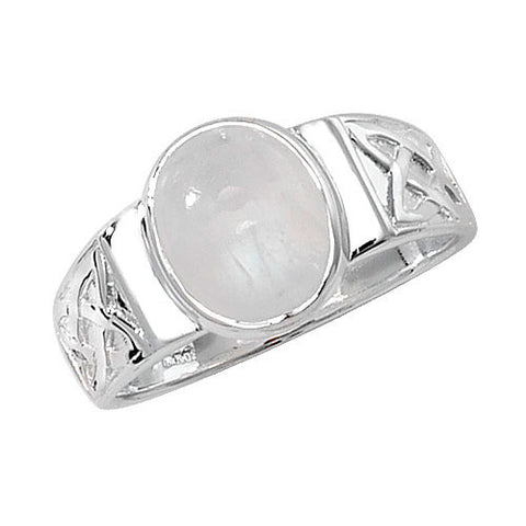 SILVER CELTIC DESIGN MOONSTONE RING