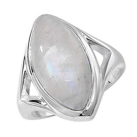 SILVER LARGE MARQUISE CABOCHON MOONSTONE RING