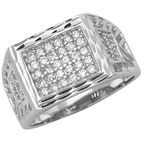 SILVER CUBIC ZIRCONIA SET RECTANGULAR SIGNET RING