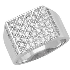 SILVER CUBIC ZIRCONIA SET SIGNET RING