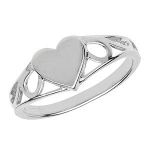 SILVER BABY/ CHILD/ LADIES HEART SIGNET RING