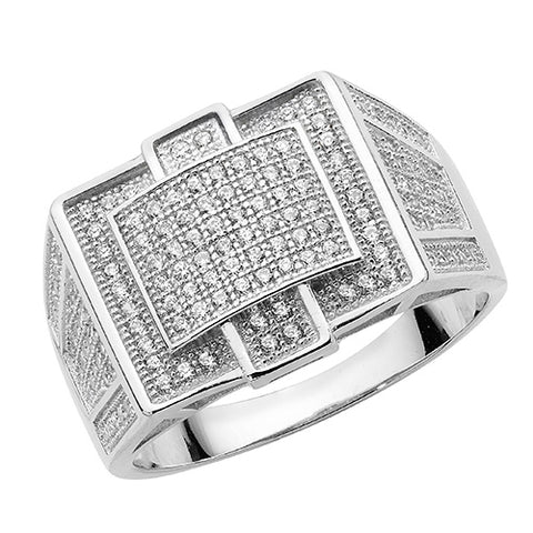 SILVER PAVE SET CUBIC ZIRCONIA ART DECO STYLE RING