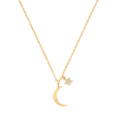 9CT GOLD CRESCENT MOON AND CUBIC ZIRCONIA SET STAR NECKLACE