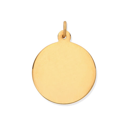 9CT GOLD PLAIN DISC PENDANT