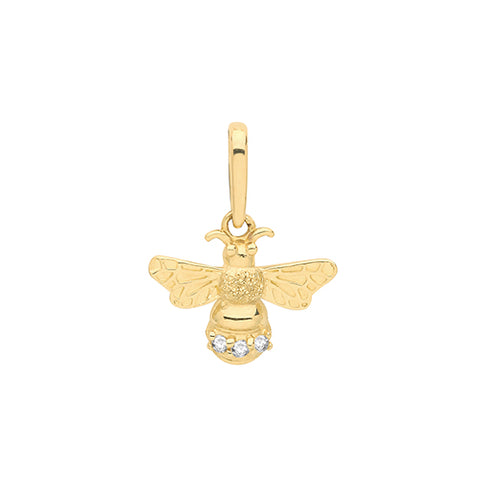 9CT GOLD CUBIC ZIRCONIA SET BEE CHARM