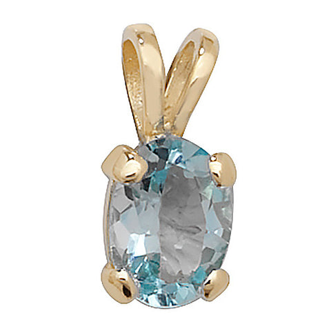 9CT GOLD OVAL BLUE TOPAZ PENDANT