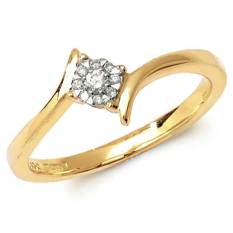 9CT GOLD BRILLIANT DIAMOND CLUSTER CROSSOVER RING
