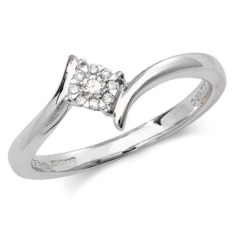 9CT WHITE GOLD BRILLIANT DIAMOND CLUSTER CROSSOVER RING