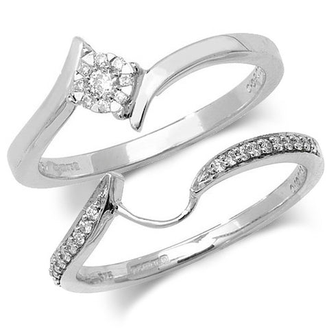 9CT WHITE GOLD BRILLIANT DIAMOND CLUSTER CROSSOVER RING & MATCHING SHAPED DIAMOND SET BAND SET