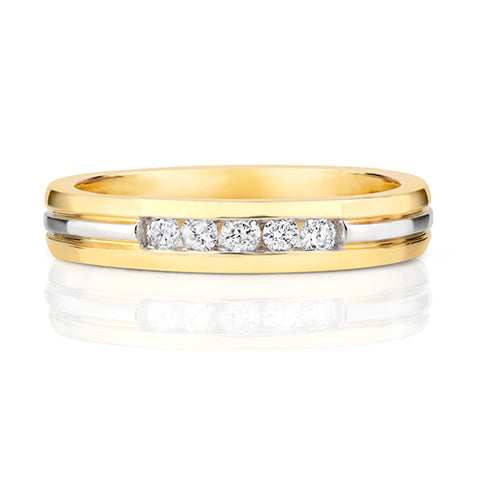 9CT YELLOW AND WHITE GOLD CHANNEL SET DIAMOND BAND