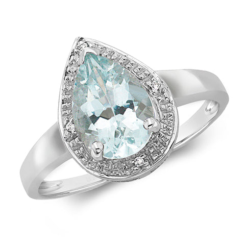 9CT WHITE GOLD PEAR CUT AQUAMARINE & DIAMOND RING