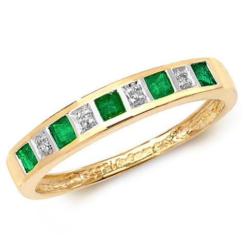 9CT GOLD PRINCESS CUT EMERALD & DIAMOND CHANNEL SET HALF ETERNITY RING