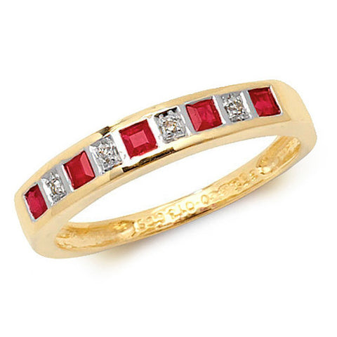 9CT GOLD PRINCESS CUT RUBY & DIAMOND CHANNEL SET HALF ETERNITY RING