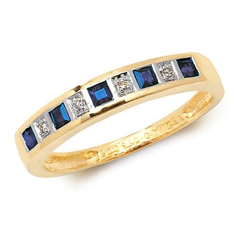 9CT GOLD PRINCESS CUT SAPPHIRE & DIAMOND CHANNEL SET  HALF ETERNITY RING