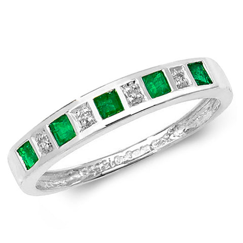 9CT WHITE GOLD PRINCESS CUT EMERALD & DIAMOND CHANNEL SET  HALF ETERNITY RING