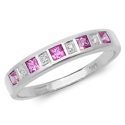 9CT WHITE GOLD PRINCESS CUT PINK SAPPHIRE & DIAMOND CHANNEL SET HALF ETERNITY RING