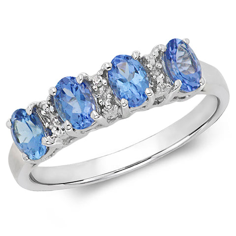 9CT WHITE GOLD TANZANITE & DIAMOND DRESS RING