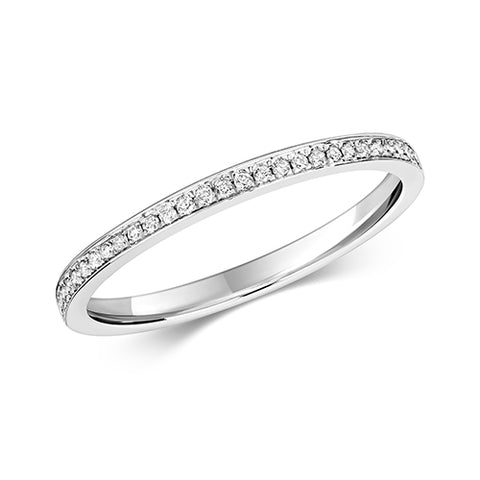 9CT WHITE GOLD GRAIN SET DIAMOND HALF ETERNITY BAND