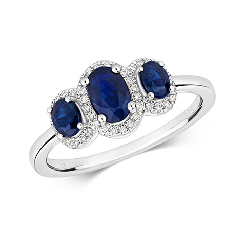9CT WHITE GOLD OVAL SAPPHIRE & DIAMOND TRILOGY CLUSTER RING