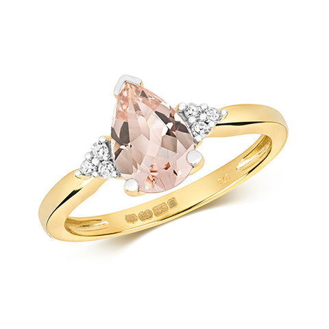 9CT GOLD PEAR CUT MORGANITE & DIAMOND RING