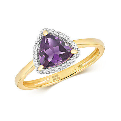 9CT GOLD TRILLIANT CUT AMETHYST & DIAMOND RING