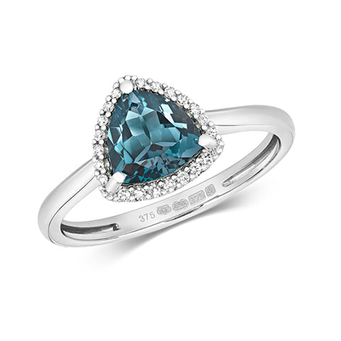9CT WHITE GOLD TRILLIANT CUT LONDON BLUE TOPAZ & DIAMOND RING