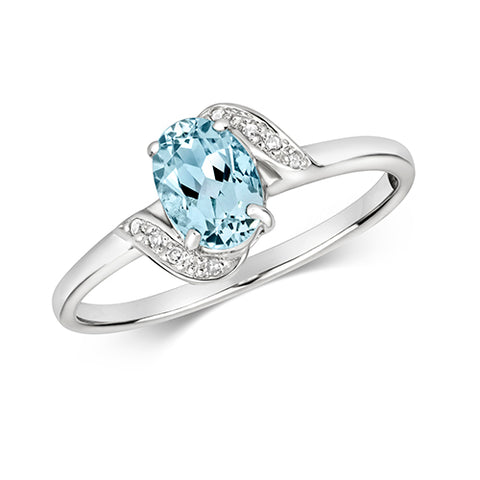 9CT WHITE GOLD OVAL CUT AQUAMARINE & DIAMOND RING