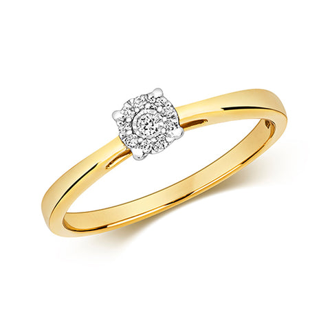 9CT GOLD BRILLIANT CUT DIAMOND CLUSTER RING