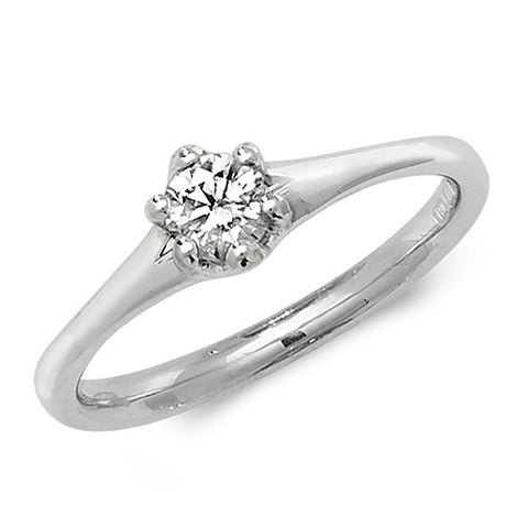 18CT WHITE GOLD SIX CLAW DIAMOND SOLITAIRE
