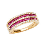 9CT GOLD PRINCESS CUT CREATED RUBY & WHITE SAPPHIRE HALF ETERNITY RING